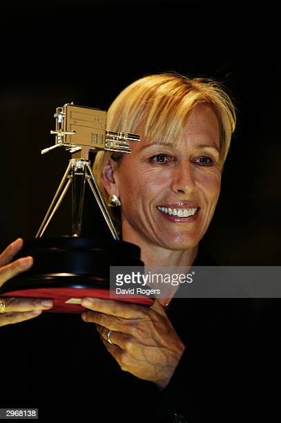 Martina Navratilova poses with the Lifetime Achievement award at the BBC Sports Personality of the Year Awards on December 14 2003 at BBC Television...