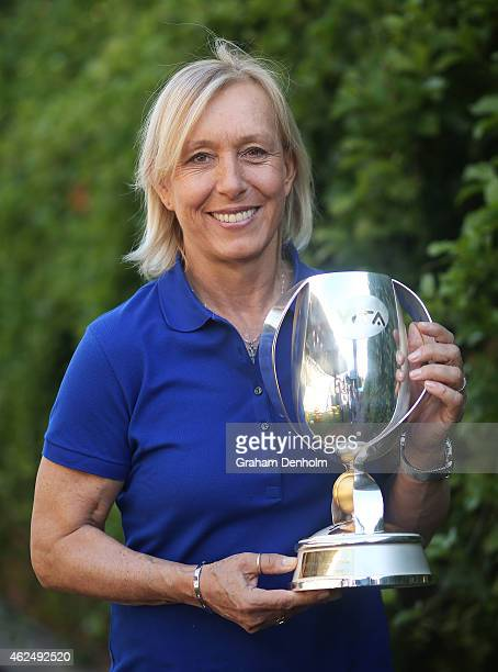Martina Navratilova poses with the WTA Finals doubles trophy that bears her name as the Woman's Tennis Association announced she would return as an...