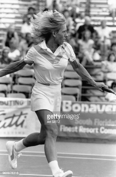 Martina Navratilova remporte son 56e match face à Melissa Brown, le 21 septembre 1984, Bonaventure, Etats-Unis.