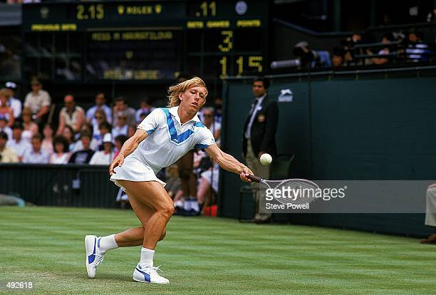 Martina Navratilova returns the ball during a Wimbledon match against Peanut Louie Mandatory Credit Steve Powell /Allsport