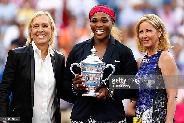 Martina Navratilova Serena Williams of the United States and Chris Evert pose after the women's singles final match on Day fourteen of the 2014 US...