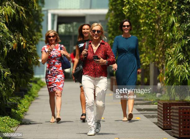 Martina Navratilova walks to the legends photo shoot during day 4 of the BNP Paribas WTA Finals Singapore presented by SC Global at Gardens by the...