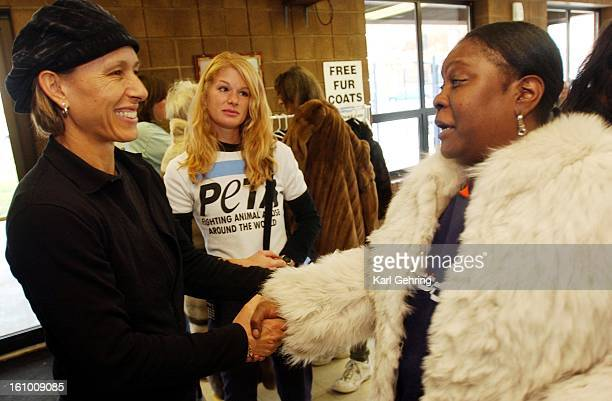 Martina Navritalova left met Deborah SmithHerron right at the Samaritan Shelter in downtown Denver Wednesday afternoon Navritalova a former fur...