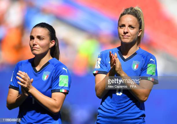 Martina Rosucci and Alia Guagni of Italy acknowledge the fans following the 2019 FIFA Women's World Cup France Quarter Final match between Italy and...