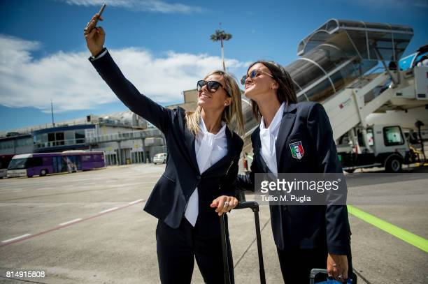 Martina Rosucci and Barbara Bonansea of Italy women's national team pose for a selfie ahead of the UEFA Women's EURO 2017 on July 15 2017 in Florence...
