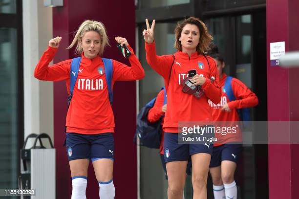 Martina Rosucci and Daniela Sabatino of Italy Women leave the team hotel to go to a training session on June 12, 2019 in Reims, France.