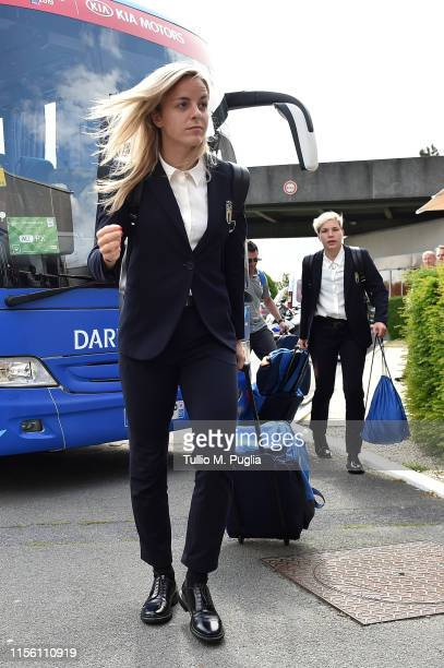 Martina Rosucci and Elena Linari of Italy Women arrive on June 15 2019 in Lille France