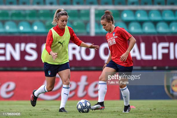 Martina Rosucci and Lisa Boattin of Italy Womenattend a training session prior to UEFA Women's Euro 2021 Qualifying round - Group B match between...