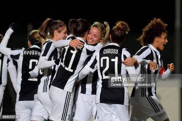 Martina Rosucci celebrates 2-0 goal during the Juventus Women v Fiorentina match at Juventus Center Vinovo on December 8, 2017 in Vinovo, Italy.