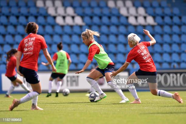 Martina Rosucci is challenged by Stefania Tarenzi during an Italy Women Training Session on May 28, 2019 in Ferrara, Italy.