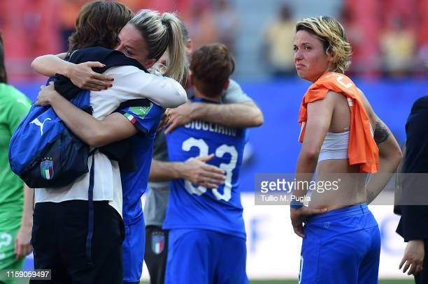 Martina Rosucci Manuela Giugliano and Valentina Giacinti of Italy show their dejection after losing the 2019 FIFA Women's World Cup France Quarter...
