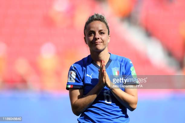 Martina Rosucci of Italy acknowledges the fans following the 2019 FIFA Women's World Cup France Quarter Final match between Italy and Netherlands at...