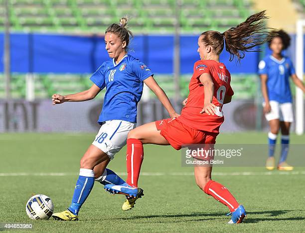 Martina Rosucci of Italy and Lia Walti of Switzerland in action during the UEFA Women's Euro 2017 Qualifier between Italy and Switzerland at Dino...