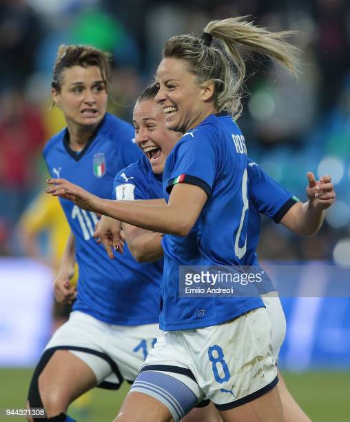 Martina Rosucci of Italy celebrates her goal with his teammates during the FIFA Women's World Cup Qualifier between Italy and Belgium at Stadio Paolo...