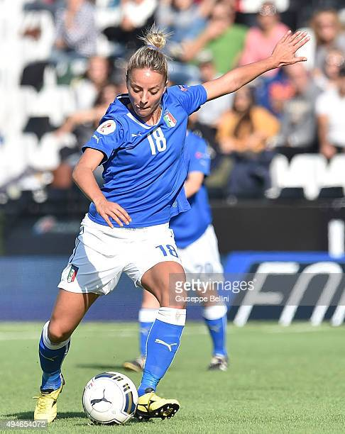 Martina Rosucci of Italy in action during the UEFA Women's Euro 2017 Qualifier between Italy and Switzerland at Dino Manuzzi Stadium on October 24...