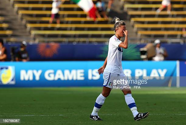 Martina Rosucci of Italy reacts during the FIFA U-20 Women's World Cup 2012 group B match between Italy and Nigeria at Kobe Universiade Memorial...