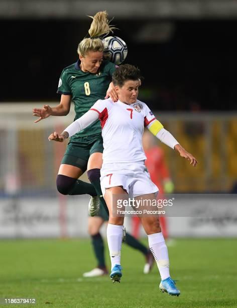 Martina Rosucci of Italy Women and Tatiana Matveeva of Georgia women during the UEFA Women's Euros 2021 Qualifier match between Italy Women v Georgia...