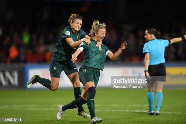 Martina Rosucci of Italy women celebrates the 6-0 goal during the UEFA Women's Euros 2021 Qualifier match between Italy Women v Georgia Women on...
