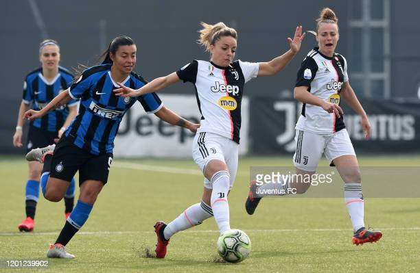 Martina Rosucci of Juventus evades a challenge from Regina Baresi of Inter during the Women's Serie A match between Juventus and FC Internazionale on...