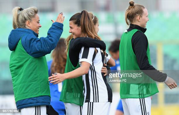 Martina Rosucci of Juventus Women and Sofia Cantore celebrate the victory after the serie A match between Sassuolo Femminile and Juventus Women at...