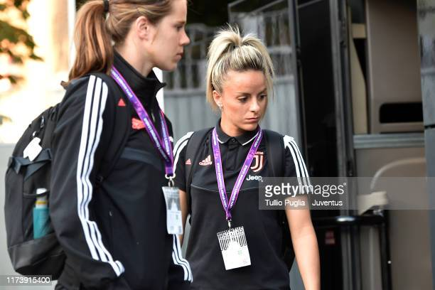 Martina Rosucci of Juventus Women arrives ahead of the Women's Champions League round of 32 match between Juventus and Barcelona at Stadio Giuseppe...