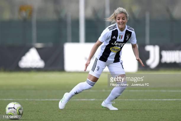 Martina Rosucci of Juventus Women during the Women Serie A match between Juventus Women and Tavagnacco at Juventus Center Vinovo on April 14 2019 in...