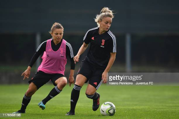 Martina Rosucci of Juventus Women in action against Aleksandra Sikora during a training session at JTC Vinovo on October 18 2019 in Turin Italy