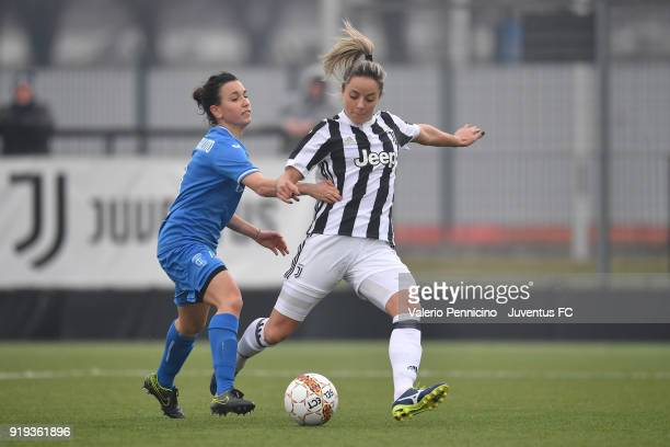 Martina Rosucci of Juventus Women is challenged during the match between Juventus Women and Empoli Ladies at Juventus Center Vinovo on February 17...