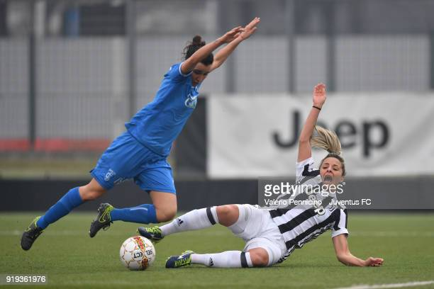 Martina Rosucci of Juventus Women is tackled during the match between Juventus Women and Empoli Ladies at Juventus Center Vinovo on February 17 2018...