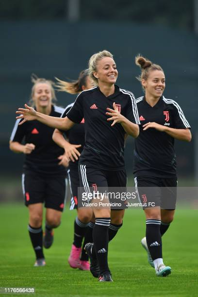 Martina Rosucci of Juventus Women looks on during a training session at JTC Vinovo on October 18 2019 in Turin Italy
