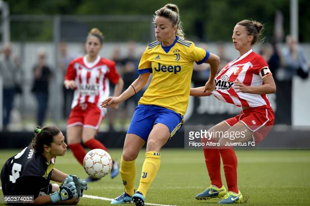 Martina Rosucci of Juventus Women sees his shot saved by Emma Guidi of Ravenna Women the serie A match between Juventus Women and Ravenna Women on...