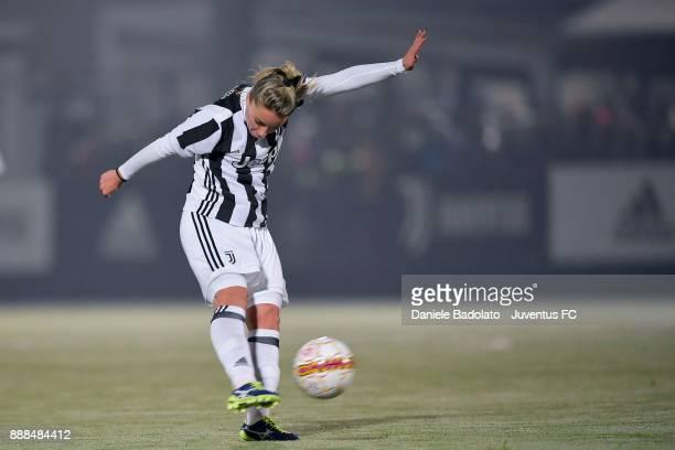 Martina Rosucci scores 1-0 goal at Juventus Center Vinovo on December 8, 2017 in Vinovo, Italy.