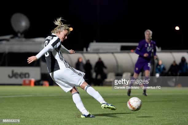 Martina Rosucci scores 2-0 goal during the Juventus Women v Fiorentina match at Juventus Center Vinovo on December 8, 2017 in Vinovo, Italy.