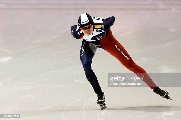 Martina Sablikova of Czech Republic competes in the 3000m Ladies race during the Essent ISU European Speed Skating Championships 2013 at Thialf...
