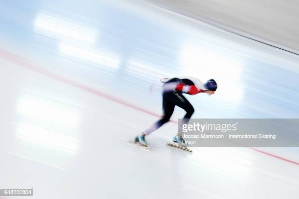 Martina Sablikova of Czech Republic competes in the Ladies 5000m during day two of the World Allround Speed Skating Championships at Hamar Olympic...