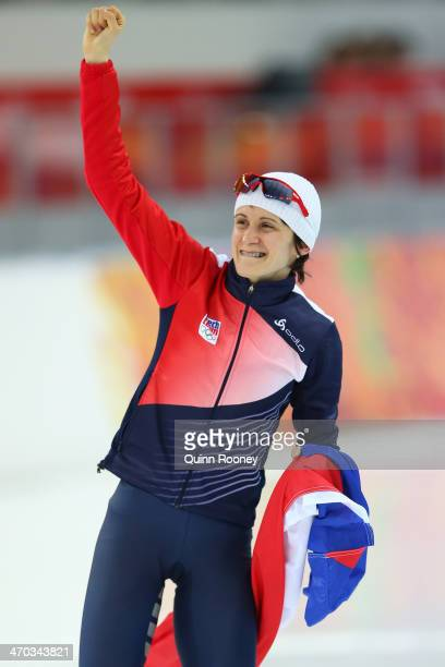 Martina Sablikova of the Czech Republic celebrates winning the gold medal during the Women's 5000m Speed Skating event on day twelve of the Sochi...