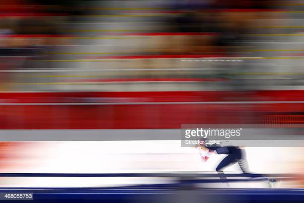 Martina Sablikova of the Czech Republic competes during the Women's 3000m Speed Skating event during day 2 of the Sochi 2014 Winter Olympics at Adler...