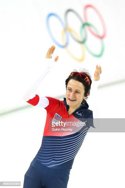 Martina Sablikova of the Czech Republic jubilates during the Women's 3000m Speed Skating event during day 2 of the Sochi 2014 Winter Olympics at...