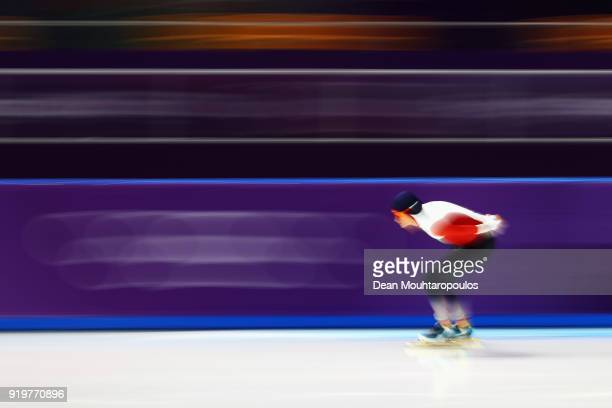 Martina Sablikova of the Czech Republic on her way to winning the silver medal in the Ladies' Speed Skating 5000m on day seven of the PyeongChang...
