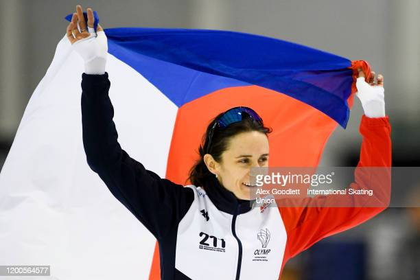 Martina Sáblíková of the Czech Republic celebrates after winning the ladies' 3000 meter during the ISU World Single Distances Speed Skating...