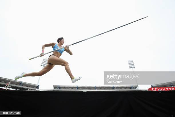 Martina Schultze of LAV Stadtwerke Tuebingen competes in the women's pole vault final on day 3 of the German Athletics Championships at...