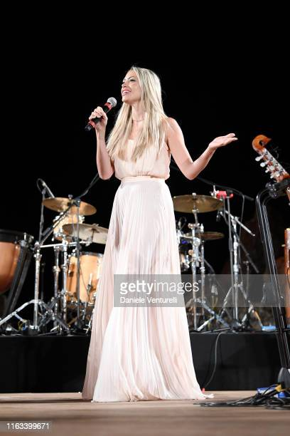 Martina Stella is seen on stage during the Nations Award 2019 ceremony at Teatro Antico on July 21 2019 in Taormina Italy