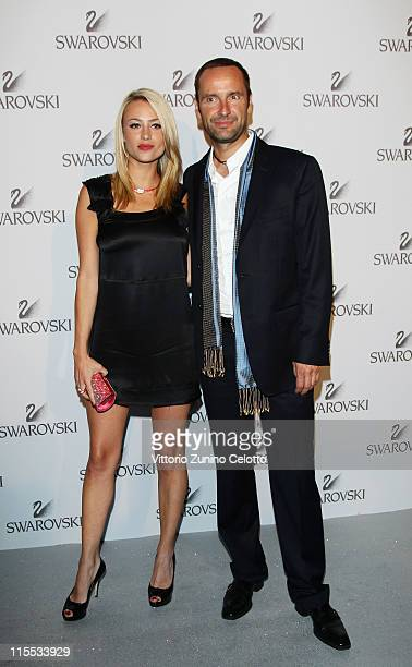 Martina Stellai and Swarovski CEO Robert Buchbauer attend the Swarovski Fashionation at Palazzo Reale on June 7 2011 in Milan Italy
