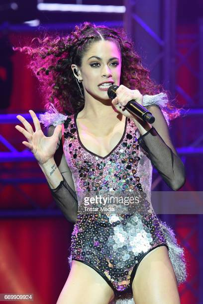 Martina Stoessel performs during her 'TINI - Got me stared' tour at Mercedes-Benz Arena on April 18, 2017 in Berlin, Germany.