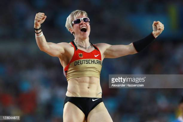 Martina Strutz of Germany celebrates during the women's pole vault final during day four of the 13th IAAF World Athletics Championships at the Daegu...