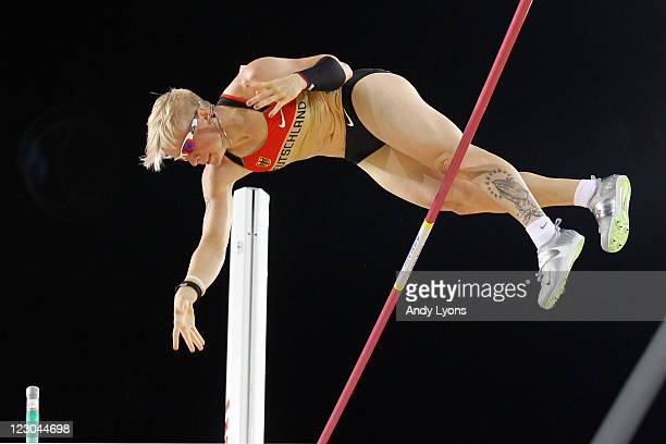 Martina Strutz of Germany competes during the women's pole vault final during day four of the 13th IAAF World Athletics Championships at the Daegu...