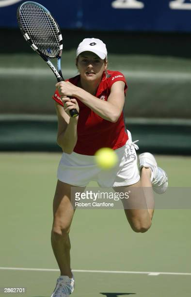 Martina Sucha of Slovakia in action in her match against Akiko Morigami of Japan during the Moorilla International at the Domain Tennis Centre on...