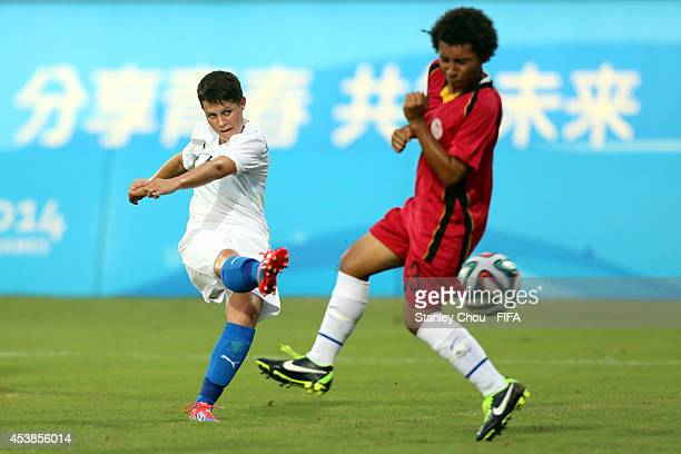 Martina Surnovska of Slovakia shoots during the 2014 FIFA Girls Summer Youth Olympic Football Tournament Preliminary Round Group A match between...