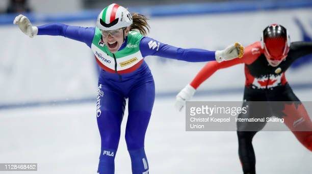 Martina Valcepina of Italy celebrates during the ladies 500 meter final A during the ISU Short Track World Cup Day 1 at Tazzoli Ice Rink on February...