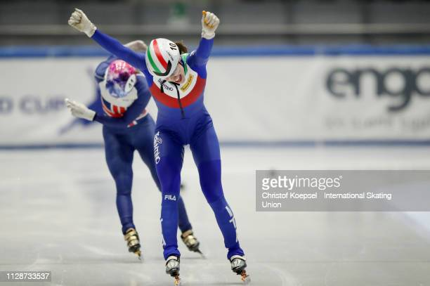 Martina Valcepina of Italy celebrates winning the second ladies 500 meter final A during the ISU Short Track World Cup Day 2 at Tazzoli Ice Rink on...
